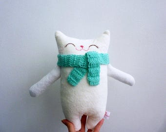 Stuffed cat, stuffed animal, cloth cat, doll cat, plush cat, nursery decor, cat softie, stuffed white cat, plush doll, plushie