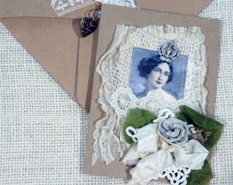 vintage laces - collage - blank greeting card - NO067