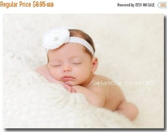 SUMMER SALE Baby Headband - White Flower Headband - Infant Headband - Toddler Headband - Newborn White Headband - Flower Clip on White Stret