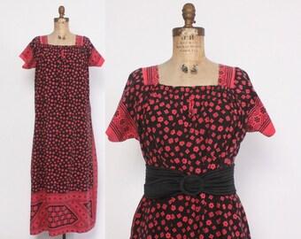 Vintage 70s Ethnic Dress / 1970s Ethnic Block Print Dark Pink & Black Loose Fit Maxi
