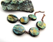 Polymer Graduated Circle Chain Danglies Earring Components Lightweight Green Purple Black Textured On Small Copper Chain Pair (2)