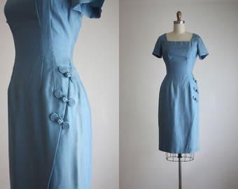 1960s cerulean silk dress