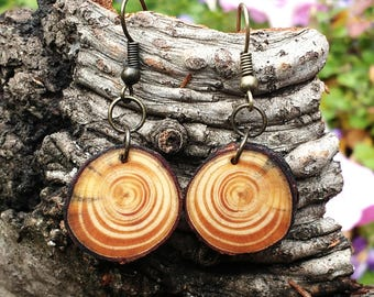 Salvaged Pine Earrings, Wood Dangle Earrings, Boho Tree Slice Earrings, Rustic Hippie Earrings