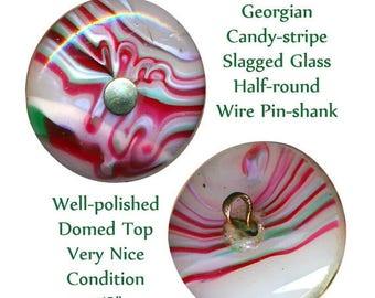 OH BOY SALE Button--Hard-to-find Georgian Medium Size Candy-stripe Slagged Glass Pin-shank