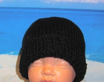 40% OFF SALE Instant Digital File pdf download knitting pattern - Baby Black Beanie pdf knitting pattern from madmonkeyknits