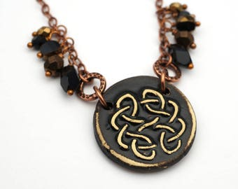 Black Celtic necklace, antiqued copper chain, knotwork jewelry 23 inches long