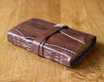 Rustic Chestnut Rainbow Leather Sketchbook - Brown Handbound Book - Cotton Rag Paper - Arrows Art Journal