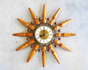 Vintage Mid Century Seth Thomas Star Burst Wall Clock. Circa 1960's.