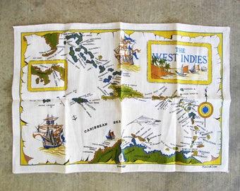 Vintage Irish Linen Tea Towel with Map of West Indies. Circa 1950's.