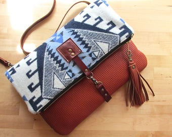 Wool and leather bag, Large Leather foldover clutch, fold over bag, fold over purse, wool fabric and rust leather clutch, tassel