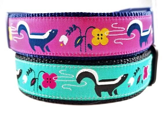 Lil' Stinker - Dog Collar, Handmade, Adjustable, Pet Accessories, Skunk, Flowers, Pet Lover, Gift Idea, Large Dog Collar , Stinky Dog, Farts