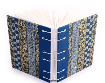 Blue and Gold Stripe Journal - handmade by Ruth Bleakley