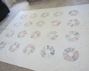 Vintage Quilt Shabby Craft Supplies Only 77 x 92 Inches