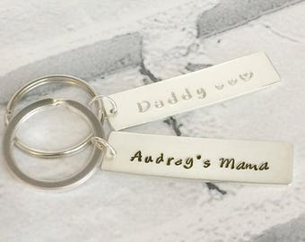 Personalised sterling silver Keyring UK Hallmarked