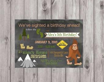 ON SALE Digital Big Foot Sasquatch Woodland Chalkboard Birthday Party Invitation You Print Printable