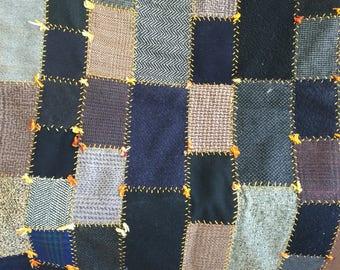 """Antique Vintage Quilt Small Lap size Wool Stripe Back Men's Suit Fabrics 65x32"""""""