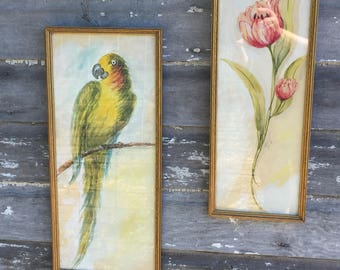Vintage Art Deco Painting Pair Tropical Flower and Parrot Bird Framed