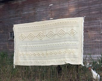 """Vintage Afghan Crochet 1970's  cream cable Striped With fringe 63x48"""""""