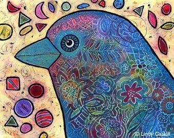 Original Acrylic Bird Painting - Birdie Love