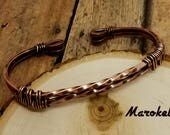 Twist Copper Cuff Heavy Gauge Square Wire Minimalist Wire Wrapped Oxidized