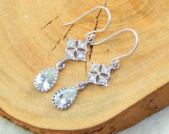Art Deco Style Silver Filigree Earrings,Bridal Earrings,Crystal Earrings,Sterling Silver