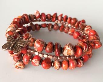 Orange & Copper Memory Wire Bracelet, Butterfly Agate Wrap Bracelet, Adjustable Bracelet, Copper Butterfly Wrap Bracelet