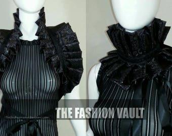 Accessorie dance costume Collar wrap Soft Shiny Black Goth Wedding Cosplay Manga Burlesque Ringmaster