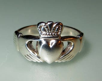 Solvar Sterling Silver Irish Claddagh Ring Size 6 Love Friendship Marriage Loyalty