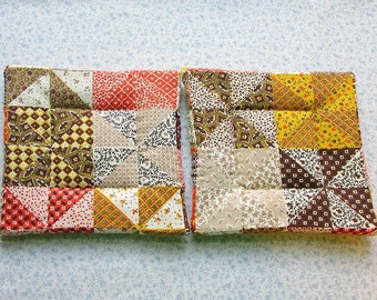 MARKED DOWN was 9 NOW 6 beige tan squares and pin wheels hand quilted vintage fabric set of 2 potholders hot pads