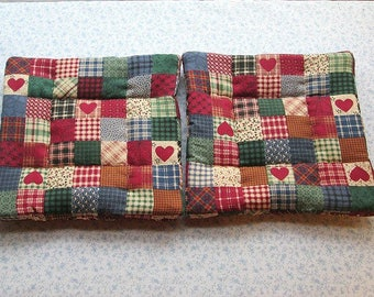 red country hearts with burgundy backs  set of 2 potholders hot pads
