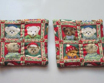 refrigerator magnets teddy bears christmas in july hand quilted stocking stuffer set of 2