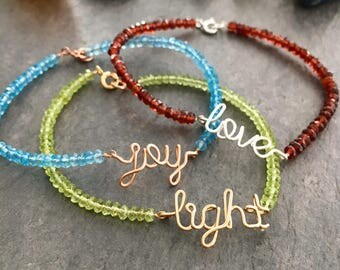 Joy Love Light Gemstone Bracelets.  Custom Word Garnet Topaz Peridot Bracelets. Genuine Birthstone Bracelet.