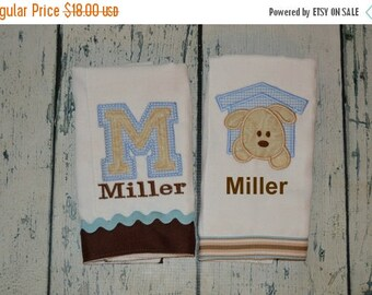 ON SALE Personalized Puppy Burp Cloth Set of 2