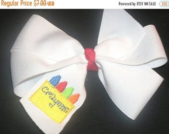 """ON SALE Embroidered Crayon Hair bow, Back To School 4"""" Bow"""