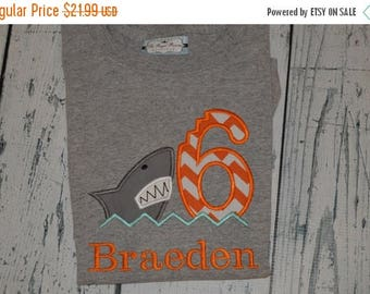 ON SALE PERSONALIZED Shark Birthday Shirt  Monogrammed Your choice 1-9