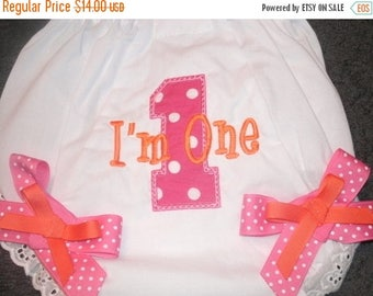 ON SALE Custom 1st Birthday Bloomers Monogram Diaper Cover Personalized