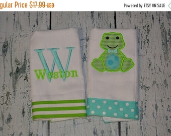 ON SALE Personalized  Frog Burp Cloth Set of 2 Burpies MONOGRAM