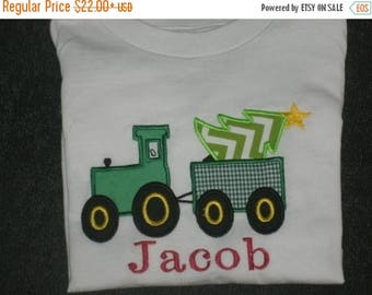 ON SALE Personalized Christmas Tractor Shirt  Monogrammed