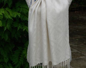 Handwoven shawl - silk - crackle weave - wedding wrap