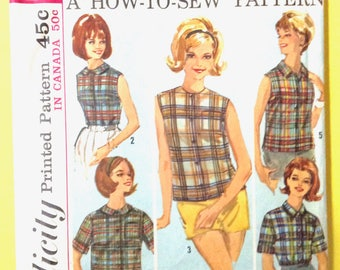 Uncut Simplicity 5326 1960s Misses' Blouses Including Chart  Vintage Sewing Pattern Bust 32