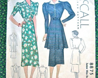 ON SALE Vintage 1930s Sewing Misses' Dress Pattern McCall 8875  Bust 32 inches