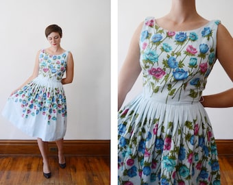 1950s Blue Rose Print Piqued Cotton Dress - S/M