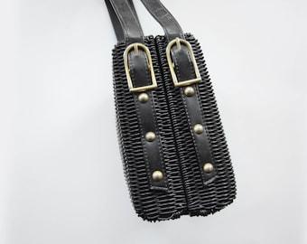 60s/70s Black Basket Purse
