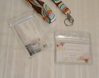 Badge  ID Holder / Clear Vertical Holder / Horizontal ID Badge / Clear Sleeve / Lanyard Badge Holder / Plastic ID Holder/ Vinyl Card Sleeve