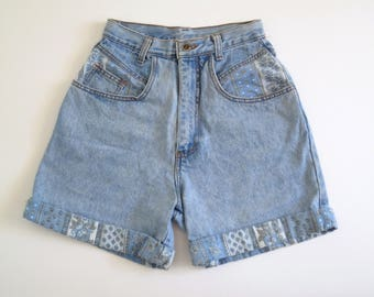 PATCHWORK // 90s high waisted denim shorts