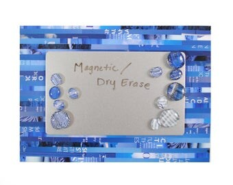 Magnetic & dry erase MESSAGE board - made from recycled magazines, strips of paper, organizer,notes, matching magnets,colorful,blue