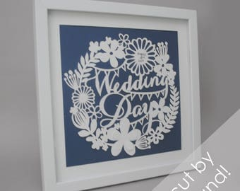 Wedding Date - PAPER CUTTING - handmade art, Valentines Day, Paper cut art, flowers, unique wall art, framed, white paper, circle, flowers