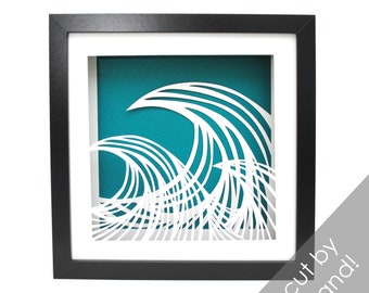 delicate WAVES - PAPER CUTTING - handmade art, unique wall art, details, pattern,waves,teal, sun, beach house, wall decor, decoration, water