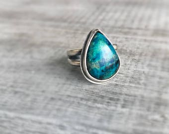 Chrysocolla Ring, Sterling Silver Ring, Metalwork Ring, Teal Blue Ring, Statement Ring, MetalSmith Jewelry, Gift for Women