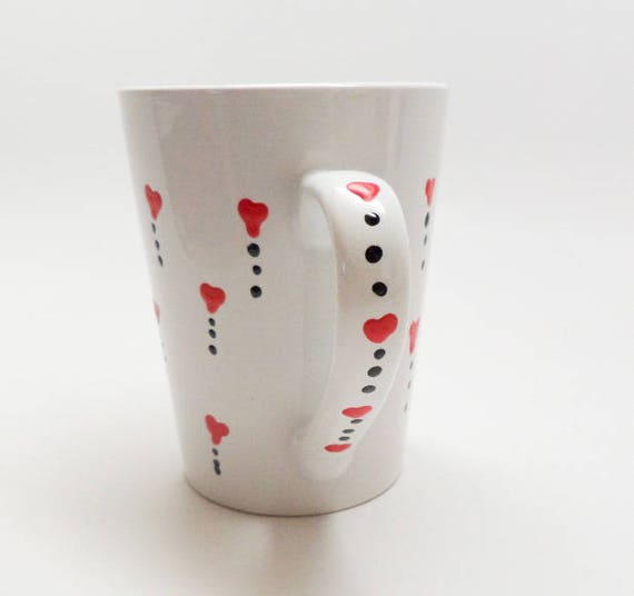 Hand Painted Ceramic Coffee mug for Valentine's Day. With red hearts on white 14 oz. mug